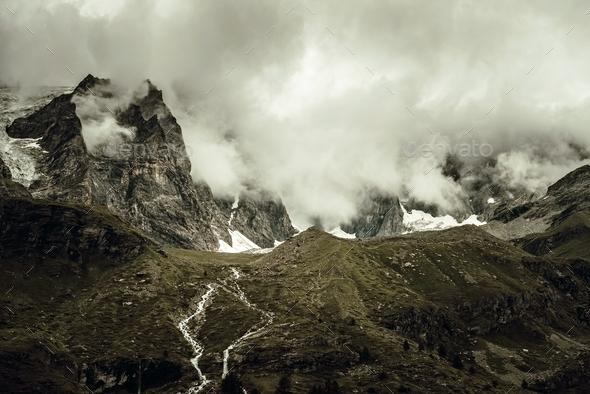 Dramatic Alpine Landscape - Stock Photo - Images