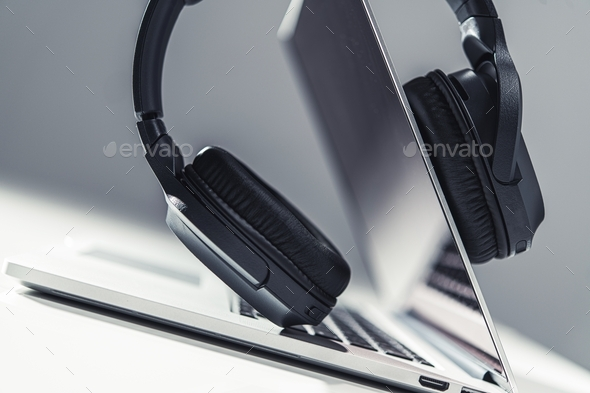 Using Professional Headphones - Stock Photo - Images
