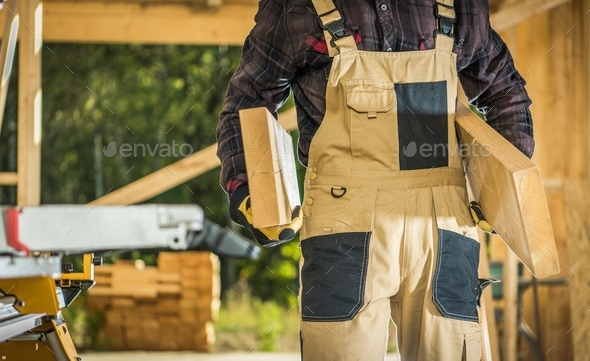 Builder Contractor with Wood - Stock Photo - Images