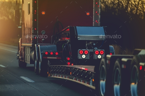 Platform Trailer Semi Truck - Stock Photo - Images