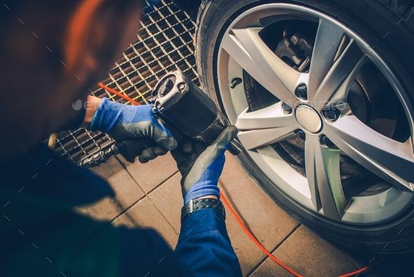 Vehicle Wheels Maintenance - Stock Photo - Images