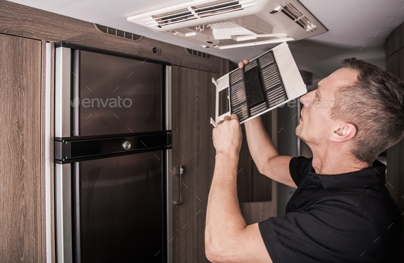 Air Condition Filter Cleaning - Stock Photo - Images