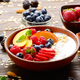 Fruit healthy muesli with peaches strawberry almonds and blackberry - PhotoDune Item for Sale