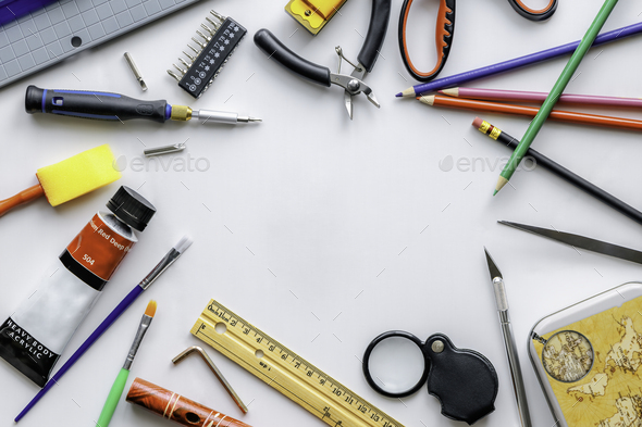 Stationery items on a white background. - Stock Photo - Images