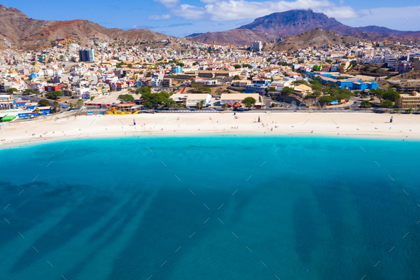 Aerial view of Laginha beach in Mindelo city in Sao Vicente Island in Cape Verde - Stock Photo - Images