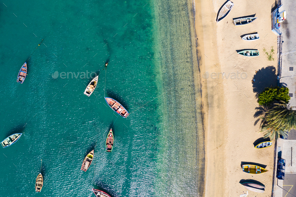 Aerial view of Mindelo beach in Sao Vicente Island in Cape Verde - Stock Photo - Images