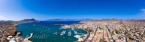 Aerial panoramic view of Mindelo waterfront in Sao Vicente Island in Cape Verde - Stock Photo - Images