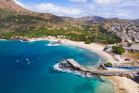 Aerial view of Tarrafal beach in Santiago island in Cape Verde - Cabo Verde - Stock Photo - Images