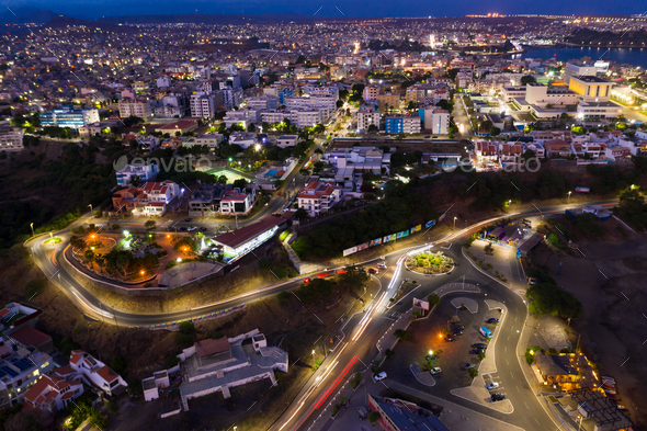 Night aerial view of Praia city in Santiago in Cape Verde Islands (Cabo Verde) - Stock Photo - Images