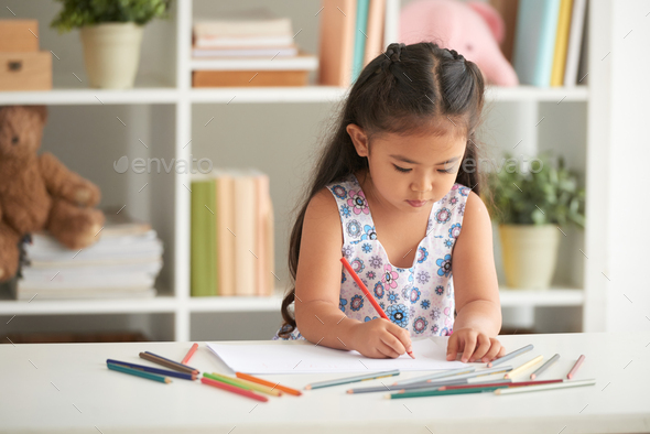 Drawing girl - Stock Photo - Images