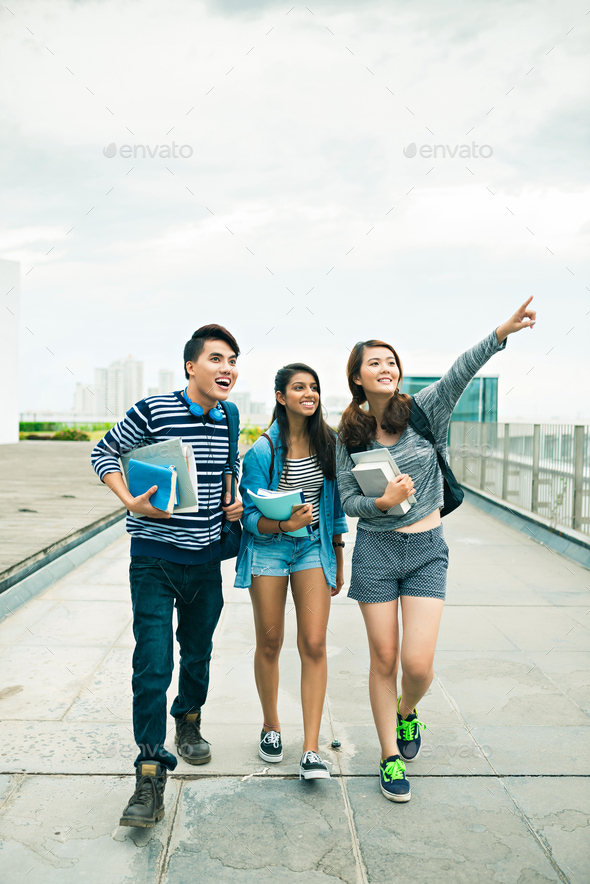 Happy college students - Stock Photo - Images