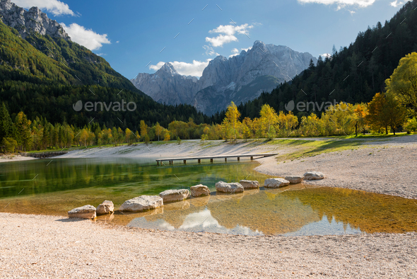 Lake Jasna in Slovenia in autumn - Stock Photo - Images