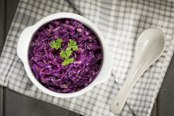 Purple cabbage salad. - Stock Photo - Images
