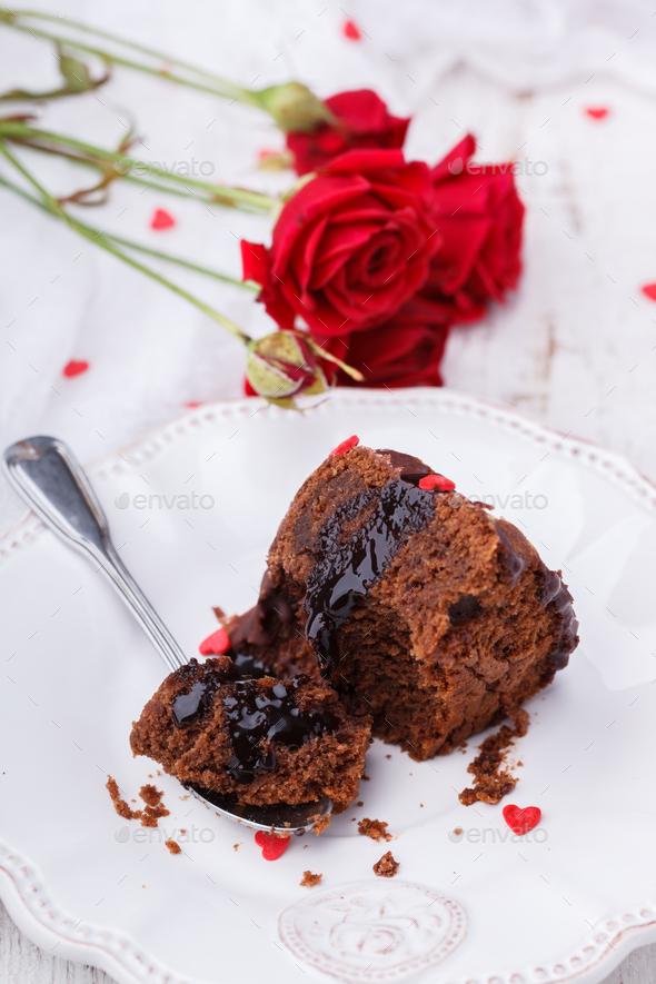Chocolate cake with chocolate glaze holiday Valentine's day - Stock Photo - Images