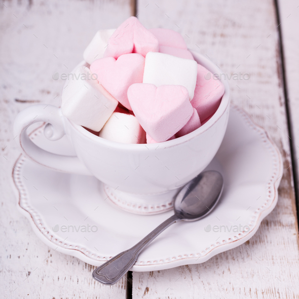 Cup with marshmallows holiday Valentine's day - Stock Photo - Images