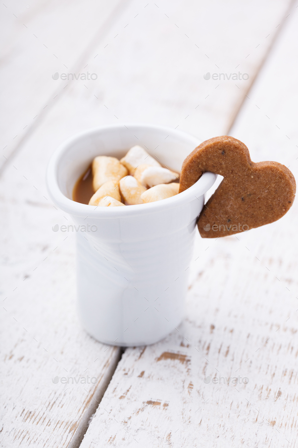 Coffee with milk and marshmallows holiday Valentine's day - Stock Photo - Images