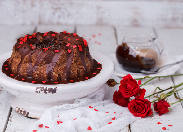 Chocolate cake with chocolate glaze holiday Valentine's day - Stock Photo - Images