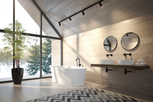 Interior bathroom of a forest house 3D rendering - Stock Photo - Images