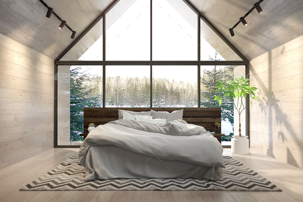 Interior bedroom of a forest house 3D rendering - Stock Photo - Images