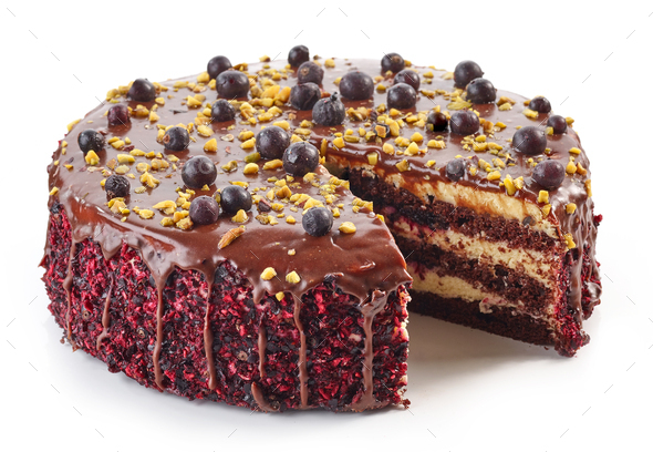 chocolate and blackcurrant cake - Stock Photo - Images