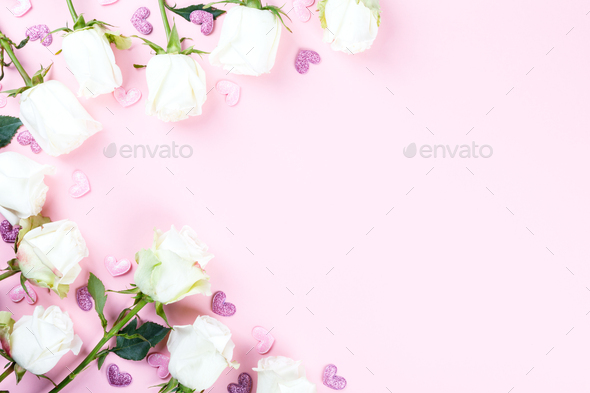 Flowers composition. Holiday Gift Valentin Day - Stock Photo - Images