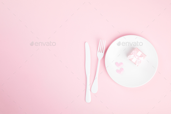 Festive table setting for Valentines Day - Stock Photo - Images