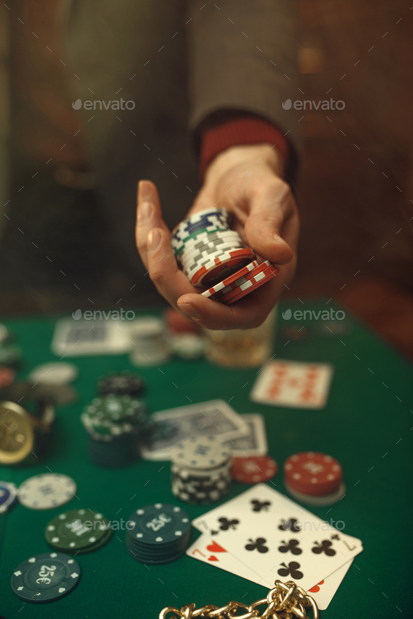 Poker concept, money bet, cards and chips, casino - Stock Photo - Images