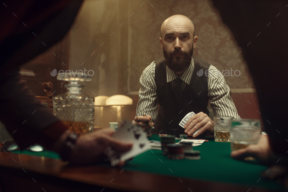 The poker players in casino, blackjack - Stock Photo - Images