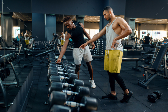 Two athletes choosing heavy dumbbells in gym - Stock Photo - Images