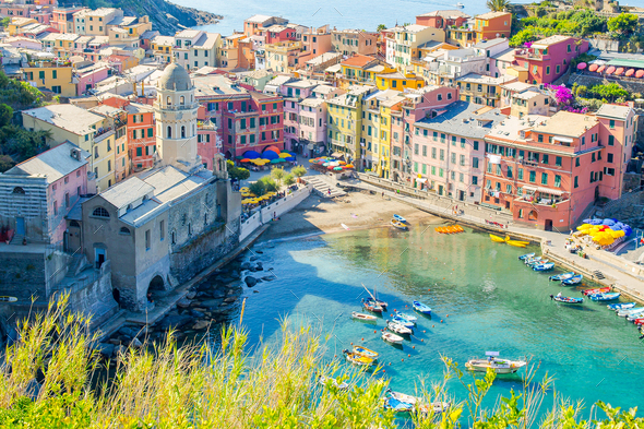 View on beautiful Vernazza town from above. Vernazza is one of the most popular old village in - Stock Photo - Images