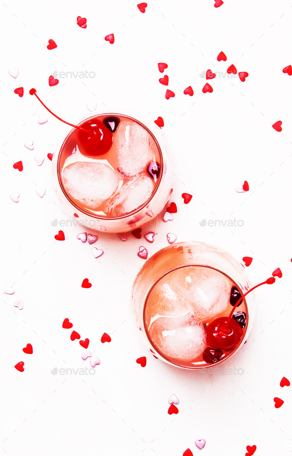 Pink alcoholic cocktail for Valentines day - Stock Photo - Images