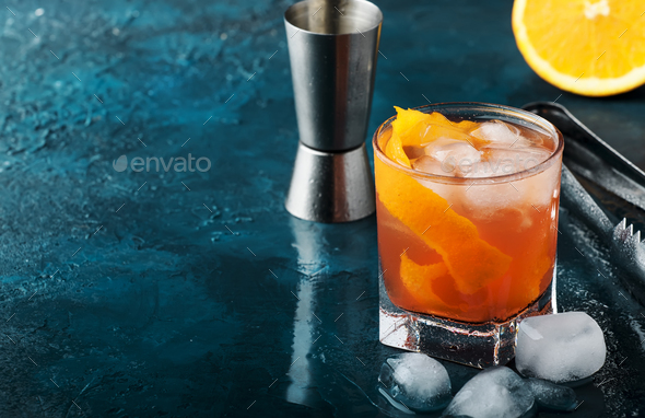 Orange Alcohol cocktail with red vermouth - Stock Photo - Images