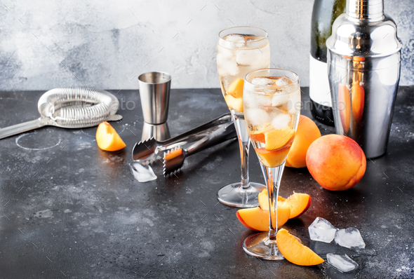 Bellini, alcoholic cocktail with sparkling wine - Stock Photo - Images