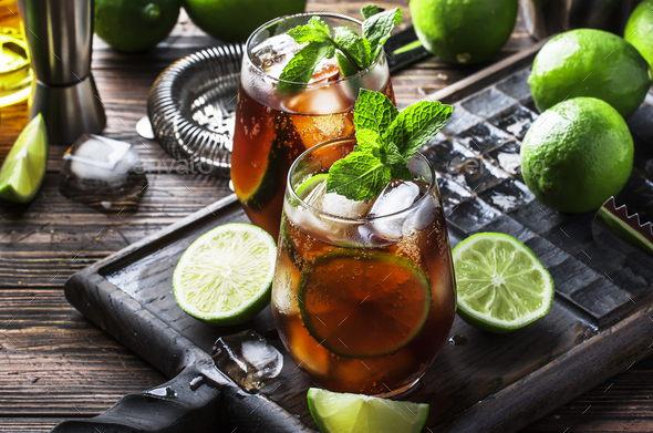 Cuba libre alcohol cocktail - Stock Photo - Images