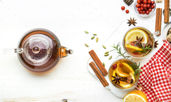 Winter healing hot tea with lemon - Stock Photo - Images