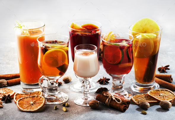 Selection of autumn or winter alcoholic hot cocktails - Stock Photo - Images