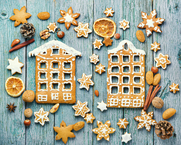 Homemade christmas gingerbread house - Stock Photo - Images