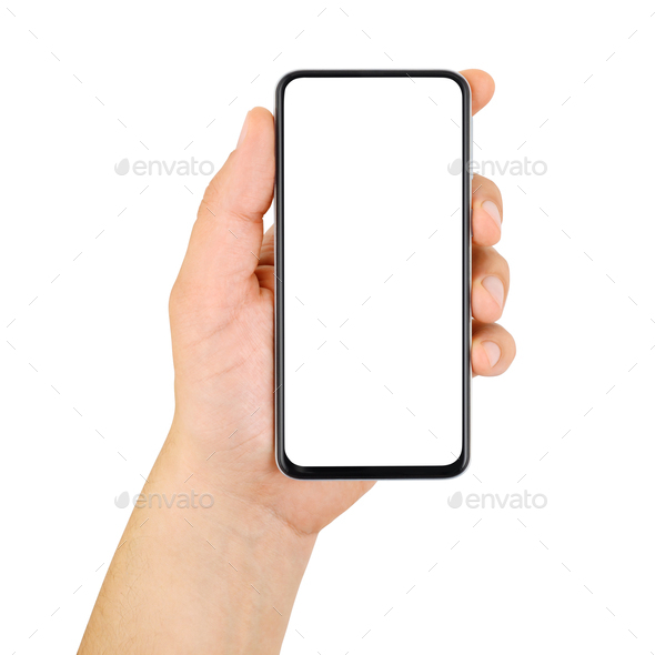 Hand holding cellphone with empty screen isolated on white - Stock Photo - Images