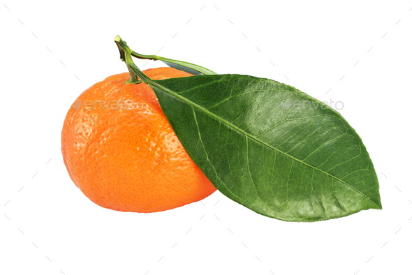Whole ripe mandarin with leaves isolated on white - Stock Photo - Images