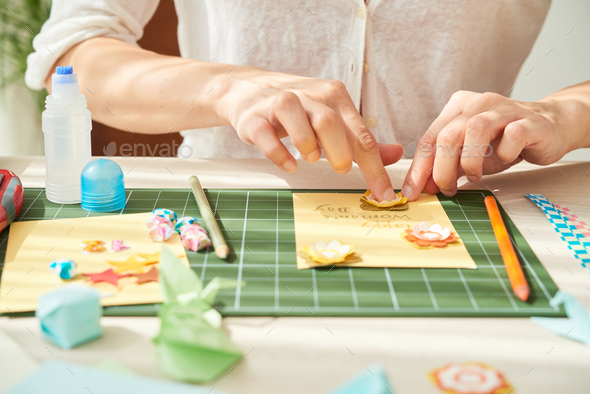 Decorating Greeting Card with Paper Flowers - Stock Photo - Images