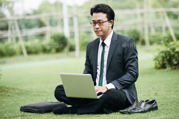 Businessman working in park - Stock Photo - Images