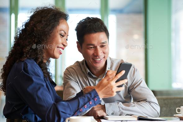 Joyful Colleagues Having Informal Meeting - Stock Photo - Images