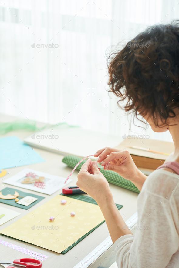 Enjoying Creation of Handmade Greeting Card - Stock Photo - Images