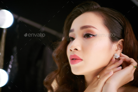 Pretty Woman Preparing for Party - Stock Photo - Images
