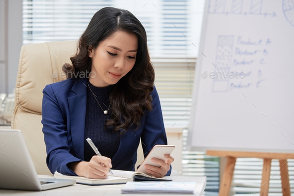 Beautiful Manager Texting with Colleague - Stock Photo - Images
