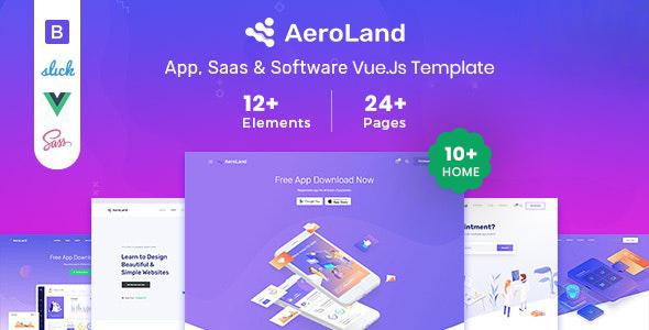 Aeroland - Vue JS App & Saas Landing Page Template
