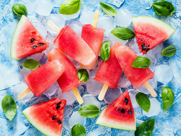 Top view of watermelon and basil popsicles - Stock Photo - Images