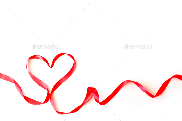 Heart made of red silk ribbon isolated on a white background. Valentine's Day Concept, February 14th - Stock Photo - Images
