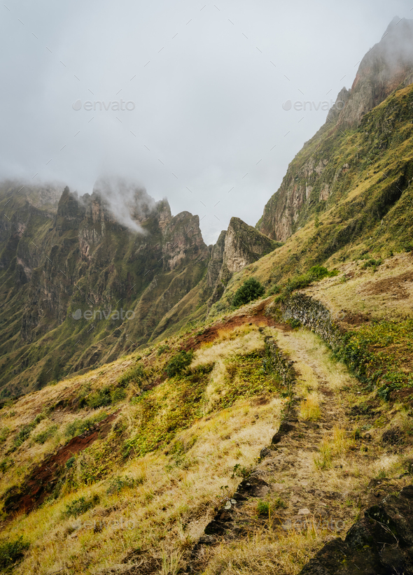 Santo Antao, Cape Verde. Mountain ridge with foggy clouds above on hike rout 303 to Xoxo in the - Stock Photo - Images