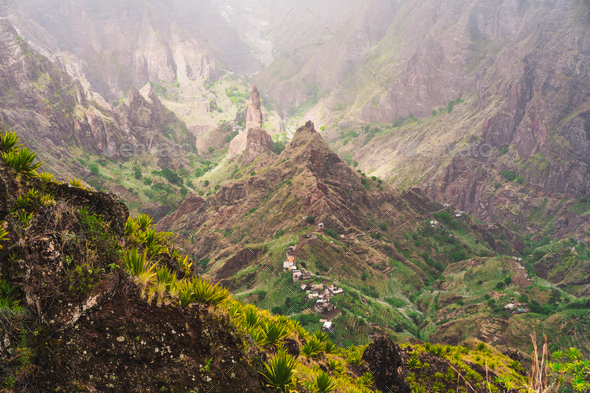 Santo Antao, Cape Verde. Xoxo in the Ribeira da Torre valley. Impressive landscape scenery - Stock Photo - Images